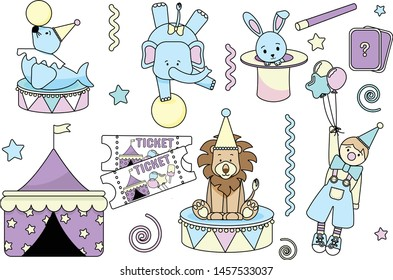 a set of isolated pictures depicting a circus tent, in which you can arrange a performance with a trained lion in a cap, a seal, an elephant on a ball, clowns, with tickets and a rabbit in a hat.