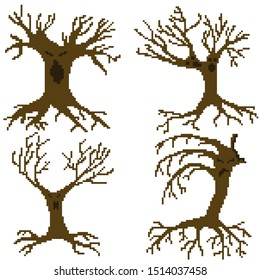 The set of isolated pixel scary trees with spooky faces and naked branches and roots on white background. Creepy retro design of decoration or characters for 8-bit game or Halloween.