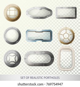 Set of isolated porthole for plane or bull's-eye window for ship or sea, ocean vehicle, glass with metal frame for submarine. Transport and travel, boat and airplane, nautical and sail theme