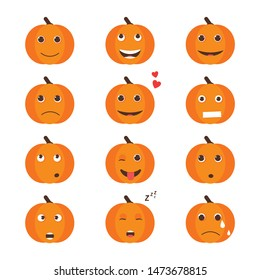 Set of Isolated pumkin cute smile character. Cartoon halloween symbol. Vector Illustration. Emoji. Orange funny face