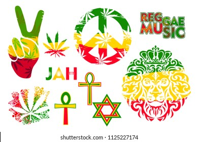 Set of isolated rastaman symbol in the colors of Jamaica - Lion, David star, pacifist sign, Ankh, leaves of Marijuana