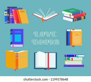 Set of isolated reading book icons. Opened notebook with bookmarks and stack or pile of education textbook, heap of literature or documents. Publication and study, learning and publishing