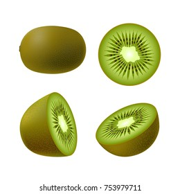 Set of isolated realistic colored whole, half and circle of green juicy kiwi on white background. Realistic fruit collection