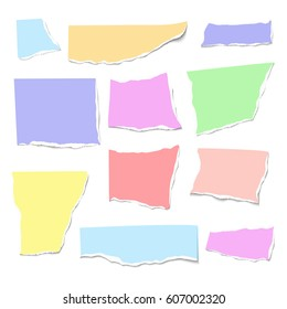 Set of isolated realistic colorful empty vector pieces of paper with ripped edges on white background.