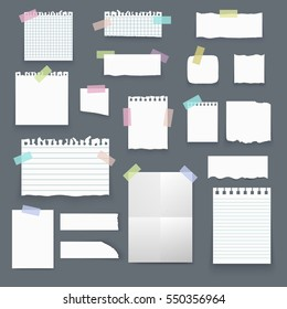 Set of isolated realistic empty vector paper poster mockup, notes, sticky, banners and pieces of paper with ripped edges on grey background.