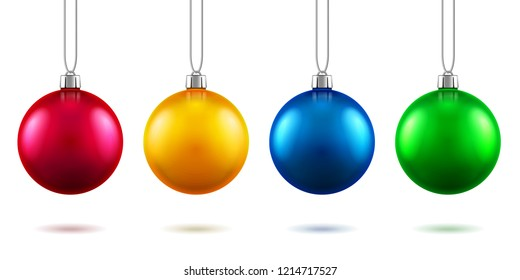 Set of isolated realistic fir tree toys hanging on rope. Baubles for 2019 new year and christmas decoration, 3d spheres with shadows for winter holidays or festive. Greeting card and tree ornament