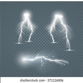 Set of the isolated realistic lightnings with transparency for design. Natural effects