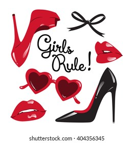 Set of isolated red and black elements. Fashion collage or card - high heeled shoes, heart shaped glasses, glossy lips, ribbon bow vector illustration. Girls rule!