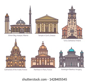 Set of isolated religion, sanctuary buildings of France and Greece, Albania and Hungary, Finland in color.Ethem Bey mosque, Turku and Invalid cathedral,Corfu temple, Paris Pantheon, Esztergom basilica
