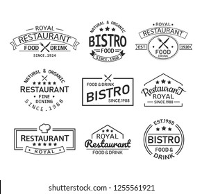 Set of isolated restaurant logo with knife and fork element. Vintage sign for cafe or bistro menu, banner with chef hat and stars. Brand for bistro or classic symbol template for business. Food