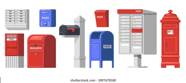 Set of isolated retro mailbox or vintage post box. Letter boxes for communication, traditional english mailing service. Europe correspondence service for postage. Old email symbol for contact address