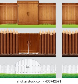 Set of Isolated Retro Wooden Fence and Gates, Palisade. Vector Cartoon Illustration
