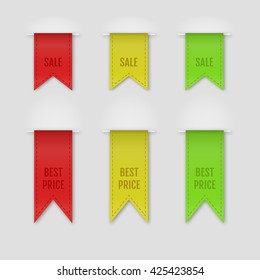 Set of isolated ribbons on grey background. Vector illustration.