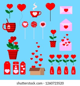 Set of isolated romantic icons with hearts: box, letter, flower pot, cup, lollipopes, ballon, labels in cartoon flat style. Vector illustration.