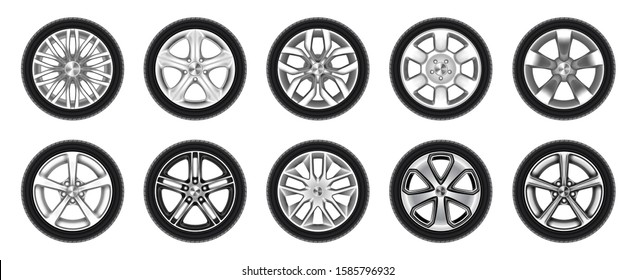 Set of isolated rubber tyre or car tire, truck wheel with metal star rim, lorry disk icon or bus wheels. Vehicle vulcanization or balancing, garage logo or brake maintenance, road, race, drive symbol