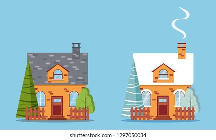 Set of isolated rural farm red brick houses with attic, chimney, fences, with winter and summer trees and spruces in flat cartoon style. Vector illustration, detailed house icon on blue background.