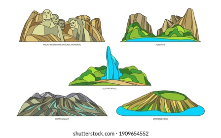 Set of isolated seesights of US or USA. Vector Yosemite park and sign of Mount Rushmore memorial, Old Faithful geyser and Death Valley, Diamond Head volcano cone. Nature monument, landscape