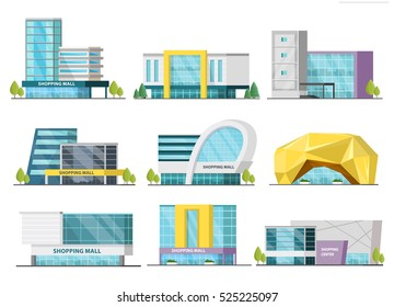 Set of isolated shopping mall buildings of various design with signboards and trees orthogonal vector illustration