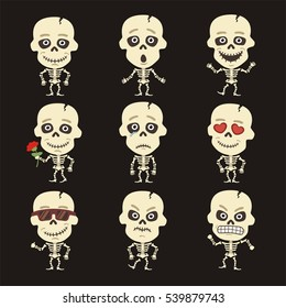 Set of isolated skeleton human in different poses in cartoon style.