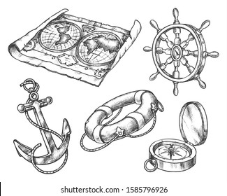 Set of isolated sketch of sea equipment. Ocean compass and vintage map, hand drawn ship or boat steering wheel and anchor, lifebuoy. Hand drawn sailing or pirate icon. Navigation and nautical theme