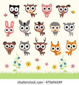 Set of isolated smiling animals with big eyes in cartoon style.