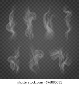 Set of isolated smoke on a transparent background. White steam from a cup of coffee or tea.