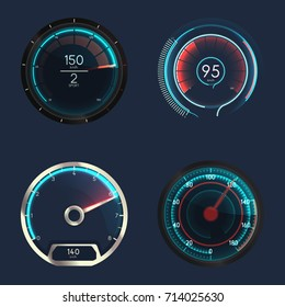 Set of isolated speedometers for dashboard. Analog device for measuring speed and futuristic speedometer, technology gauge with arrow or pointer for vehicle panel, web download speed sign