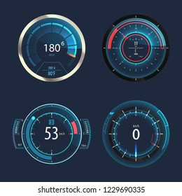 Set of isolated speedometers for speed measure or odometer with arrows. Odograph gauge for automobile, truck or car panel. Modern and futuristic download speed circle for internet connection