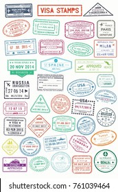Set of isolated stamps for visa or passport, travel and tourism document. Germany and India, Russia and Spain, France and Turkey, Australia and UK, Panama and Malaysia, Italy. Foreign vacation