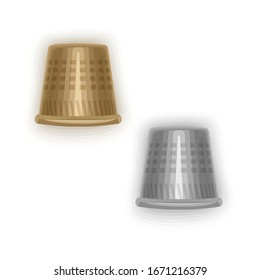 Set of isolated steel thimbles on a white background, golden and silver thimbles, Vector eps 10 format
