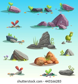 Set of isolated stones, boulders. Vector objects. Bright background images for print, create videos or web graphic design, user interface, card, poster.