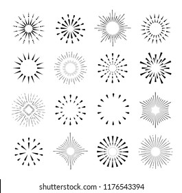 Set of isolated sunburst rays retro design elements isolated on a white background. Starbursts circles, Vector illustration.