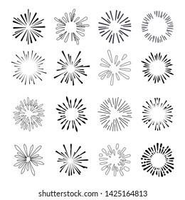 Set of isolated sunburst rays retro design elements isolated on a white background. Starbursts circles