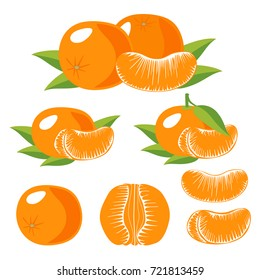 Set of Isolated tangerines with green leaves. Whole tangerines or mandarins orange fruits and peeled segments isolated on white background.