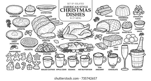 Set of isolated traditional American style Christmas dishes in 27 menu. Cute hand drawn food vector illustration in dark gray outline and white plane on white background.