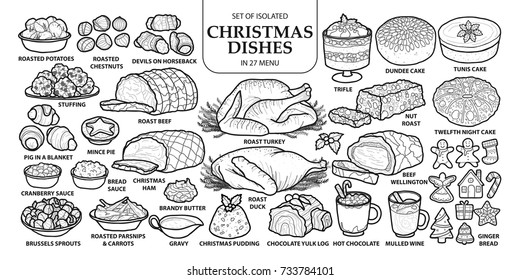 Set of isolated traditional Christmas dishes in 27 menu. Cute hand drawn vector illustration in dark gray outline and white plane on white background.