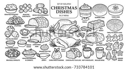 Set Isolated Traditional Christmas Dishes 27 Stock Vektorgrafik