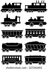 set isolated trains with freight and passenger car  silhouette for rail way