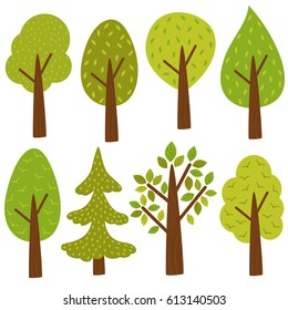 set of isolated trees  - vector illustration, eps