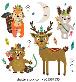 set of isolated tribal animals part 2 - vector illustration, eps