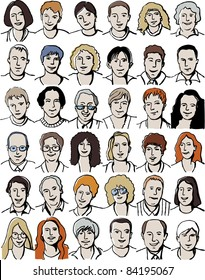 Set isolated  unrecognizable people portraits on white. Collection with different unrecognizable faces. Vector illustration with isolated objects.