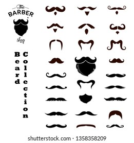 Set of isolated vector Beard style. Beards and mustaches types. barber big collection. Silhouette vintage beard and mustache. Barber cartoon black beard label. Hipster style barber beard icon. -