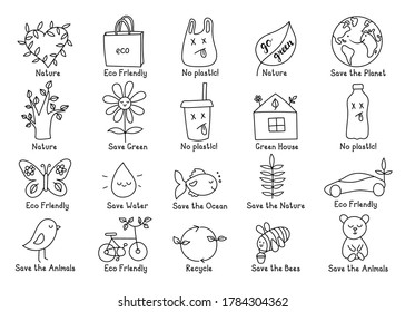 Set of isolated vector eco elements with popular slogans in doodle style. Can be used for icon, sticker, labels, decoration texts, postcards, banners, posters, invitations, blogs, websites. Go green!