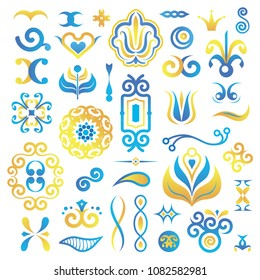 Set of Isolated Vector Elements for Create Azulejo Patterns. Vector Illustration