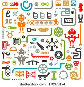 Set of Isolated Vector Elements. Industrial, Construction and Robotics Items for Your Design