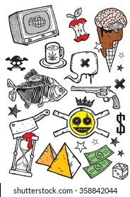 Set of isolated vector elements.Modern life and money theme. Hand-drawn vector images.Good for stickers. Easy to edit. EPS8 file.