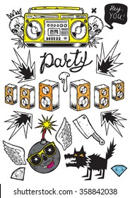 Set of isolated vector elements.Psyhedelic party theme. Hand-drawn vector images.Good for stickers. Easy to edit. EPS8 file.