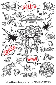 Set of isolated vector elements.Space psyhedelia theme. Hand-drawn vector images.Good for stickers. Easy to edit. EPS8 file.