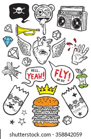 Set of isolated vector elements.Urban life theme. Hand-drawn vector images.Good for stickers. Easy to edit. EPS8 file.