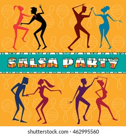 Set Isolated Vector eps Art. Salsa . Samba . Rumba. Latin social Dance. Couple Dancing. Logo and symbol for school, club, bars, studios
